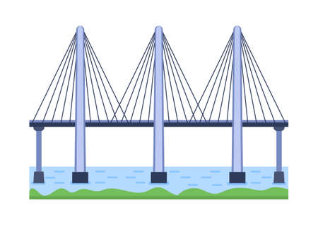 Bridge vector illustration. City architecture element with cables, freeway and bridge-construction across the river with carriageway isolated and lanterns on colourful landscape