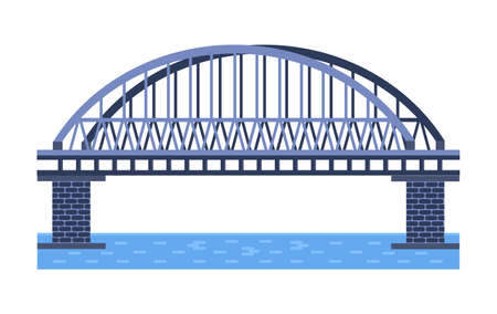 Bridge vector illustration. City architecture element with cables, freeway and bridge-construction across the river with carriageway isolated and lanterns on colourful landscape background.
