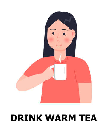 Drink warm tea illustration. Girl is ill, taking cup and drinking hot tea for prevention of flu, influenza. Health care icon vector. 일러스트