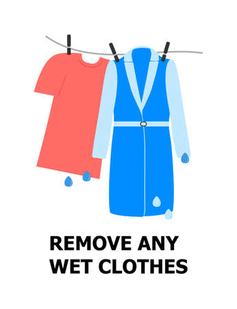Remove any wet clothes illustration. T-shirt and coat are hanging and drying. First aid of frostbite. Simple health care vector. 일러스트