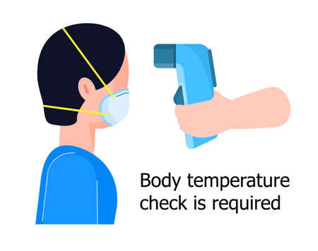 Body temperature check is required. Non-contact thermometer in hand. Human is wearing mask on the face. Coronavirus prevention and control