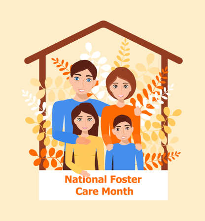 Happy family concept vector. Mother and farther, son and daughter with on botanic, leave background. National foster care month, family day.