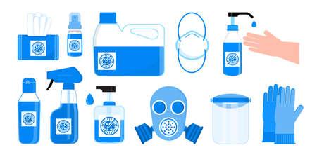 Vecteur défini de désinfection. Illustration de l'hygiène corporelle. Des bouteilles de désinfectant pour les mains, un respirateur, un gel antiseptique sont montrés. Flacon pulvérisateur, lingettes humides, savon liquide sont affichés. Liquides distinctifs