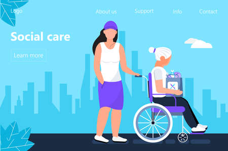 Social worker is taking care about senior woman. Support disable people concept vector in flat style for landing page. Volunteer, young woman rides wheelchair. Granddaughter helps her grandmother.