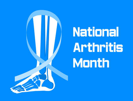 National arthritis month is celebrated in May in USA. Blue ribbon sign. Rheumatism, osteoarthritis problems. Healthcare flat concept vector on the blue background for banner, app.