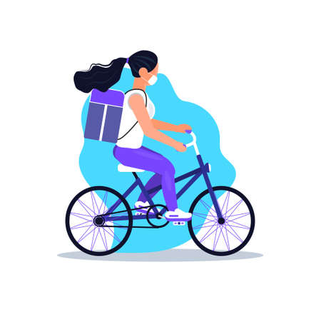 Safe, contactless delivery service door to door. Food delivery and online order concept vector for app. Girl is riding bicycle with restaurant meal. Pizza courier is wearing mask.