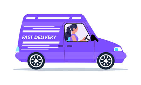 Safe, contactless delivery service door to door. Food delivery and online order concept vector for app. Man is driving van with goods. Courier illustration