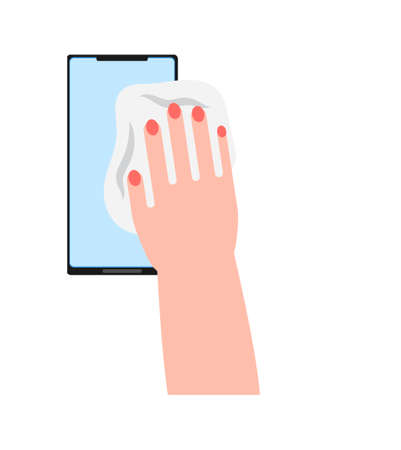 Smartphone cleaning icon vector. Hand is wiping screen of phone. Antibacterial wet wipe is helping to prevention of virus spreading.