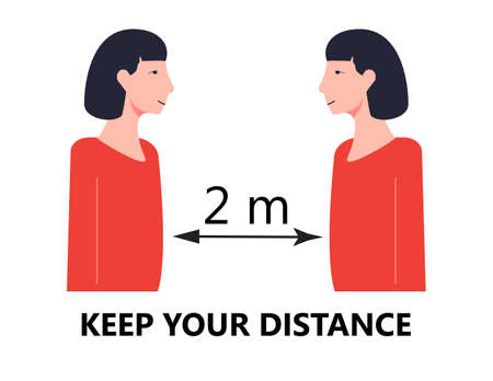 Keep your distance concept vector. Providing of safe distance in social distancing. Tip icon is helping against spreading of coronavirus