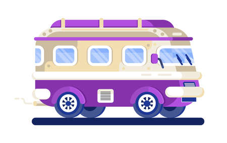 Vintage hippie van vector isolated on the white background. Travel transport concept. Retro minibus illustration. Cute minivan for passengers. Fast delivery is shown. Vektorgrafik