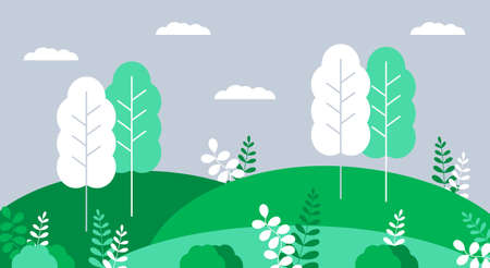 Nature, village, countryside landscapes vector. Horizontal illustration of meadow, grass. Natural, botanic background for poster, banner, card, flyer, web in trendy grey and grey colors.