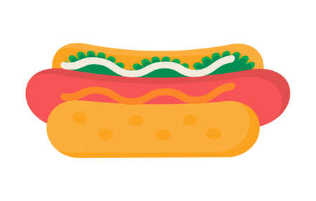 Hot dog icon vector illustration. Fast food concept. Fried sausage, ketchup, salad, bread and mustard are shown.