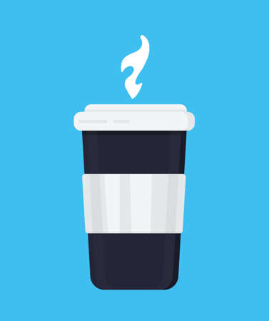 Disposable coffee cup icon vector on the blue background. Disposable plastic coffee cup with hot coffee in flat style. Çizim