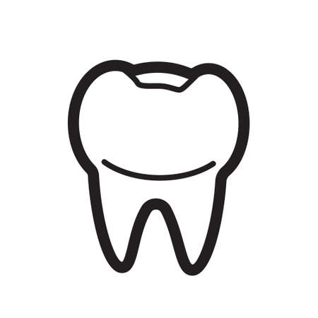 Tooth outline icon vector for medical website, app. Toothache, whiten enamel or recovery implant. Dentist service emblem.