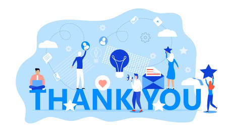 Thank you concept vector. Tiny people thank you for help. Clients evaluate the service, give rate. Like, heart, star icons are shown.