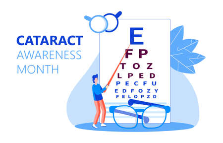 Cataract awareness month is celebrated in June. Glaucoma disease and nephropathy problems. Ophthalmologist concept illustration. Eyesight check up with tiny people character for web.