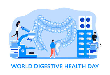World digestive day is celebrated in 29 May. Intestine probiotic bacteria, lactobacillus info-graphic illustration vector. Tiny doctors treat stomach diseases. Vetores