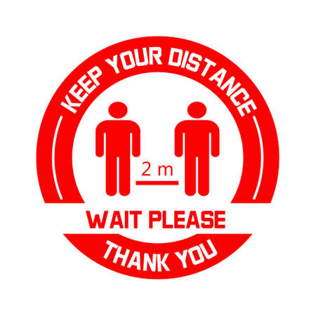Keep your distance label vector. Social distancing sign in red color. Coronavirus prevention tips. Round floor sticker with human figures and 2 meter safety distance.