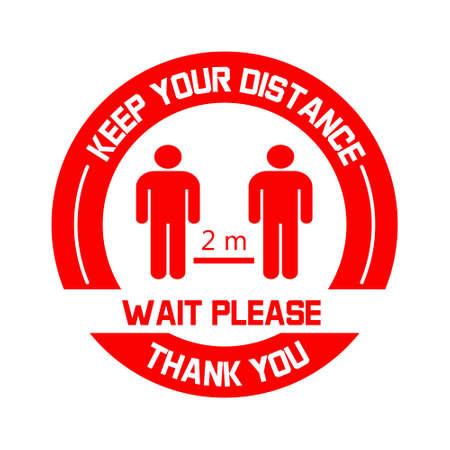 Gardez votre vecteur d'étiquette de distance. Signe de distanciation sociale de couleur rouge. Conseils de prévention du coronavirus. Autocollant de sol rond avec figures humaines et distance de sécurité de 2 mètres.