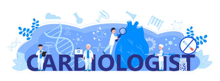 Cardiologist concept vector for web header. Hypo-tension and hypertension disease illustration for cardiology homepage. Symptoms and prevention blood pressure. Tiny doctors treat heart.