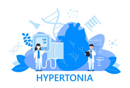 Hypertonia concept vector. Hypotension and hypertension disease illustration for web, banner, app. Symptoms and prevention blood pressure health.