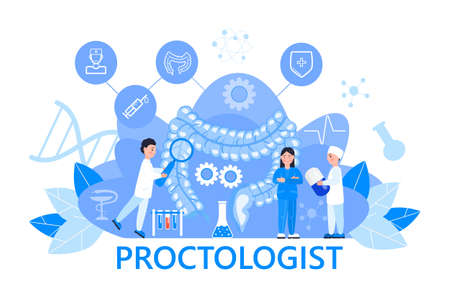 Proctologist concept vector for medical web. app. blog.Intestine doctors examine, treat dysbiosis. Tiny therapist of proctology looks through a magnifying glass on harmful bacteria.