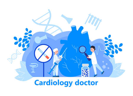 Cardiologist concept vector for web header. Hypo-tension and hypertension disease illustration for cardiology app, web. Symptoms and prevention blood pressure. Tiny doctors treat heart. No smoking.