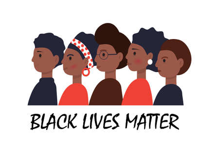 Black Lives Matter concept vector in cartoon style. African Americans are standing one by one. Tolerance to other skin. Stop racism illustration. Protest march for the rights of black citizens. Vektoros illusztráció