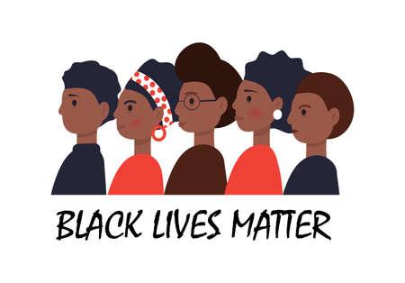 Black Lives Matter Konzeptvektor im Cartoon-Stil. Afroamerikaner stehen einer nach dem anderen. Toleranz gegenüber anderer Haut. Stoppen Sie die Rassismusillustration. Protestmarsch für die Rechte schwarzer Bürger. Vektorgrafik
