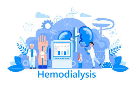 Hemodialysis concept vector. Method of extrarenal blood purification in acute and chronic renal failure. Tiny doctors treat, test kidney. Blue template for website, landing page.