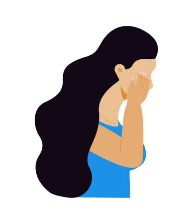 Crying girl concept vector. Victim scene in society. Stressed person in shame. Cartoon illustration of accusation in life, depression in work, in school. World day of Bullying Prevention