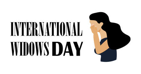 International Widows Day is a global awareness day that takes place annually on 23rd June. Woman is crying, in depression. Social banner vector for web, flyer, app. Иллюстрация