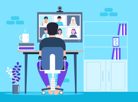 Remote school class is studying. Video call conference concept vector. Social distancing during quarantine. University online course illustration. Teleconference and webinar concept. Teacher works. Vector Illustration