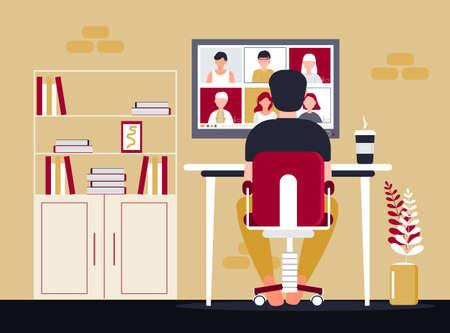 Fernschulklasse studiert. Videoanruf-Konferenz-Konzeptvektor. Soziale Distanzierung während der Quarantäne. Illustration des Online-Kurses der Universität. Telefonkonferenz- und Webinar-Konzept. Lehrer arbeitet.