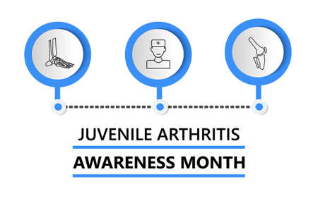 Juvenile Arthritis Awareness Month is celebrated in July. Doctor, knee joint, foot icon of info-graphic. Rheumatism, osteoarthritis of children for medical web, banner.