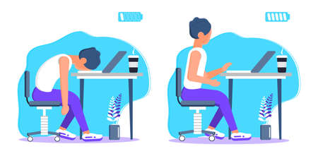 Burnout in professional life, emotional collapse concept vector. Tired frustrated freelancer is sitting at the table. Young man in stress in the office. Brainstorming is out. Unsolved working tasks.
