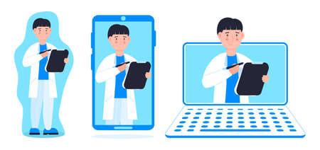 Tele medicine or online doctor. Online medical consultation concept vector. Ask a therapist or family female doctor. Set of andrologist on the laptop, phone screen and standing. Mobile health care.