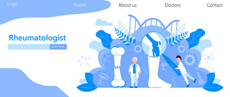 Rheumatologist vector concept. Osteoporosis world day,. Tiny doctors research osteoarthritis anatomical bones of human. Knee joint pain, fragility of lower leg are shown for landing pages. Çizim