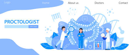 Proctologist concept vector for medical web, landing page. blog.Intestine doctors examine, treat dysbiosis. Tiny therapist of proctology looks through a magnifying glass at harmful bacterias.