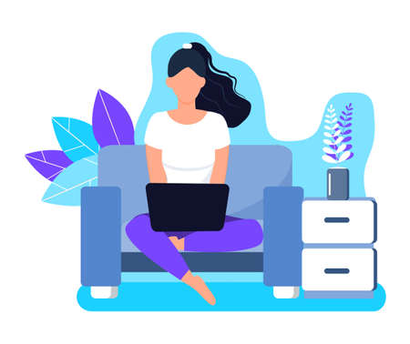 Girl is working remote on laptop in sofa. Freelancer job illustration. Home business concept vector on floral background.