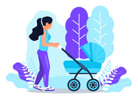 White woman is walking with baby stroller. Happy motherhood lifestyle concept vector on floral background.