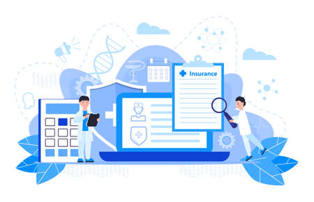 Healthcare insurance vector concept, people with doctor fill health online form insurance. Help agent service for calculate insurance bill. it can used for landing page, ui, web