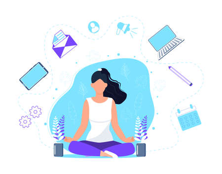 Business yoga concept vector. Office meditation, self-improvement, controlling mind and emotions, zen relax concentration yoga practice. Woman is sitting in lotus position.