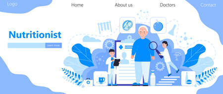 Nutritionist concept vector for homepage. Obesity problems of senior. Doctors prescribe a diet, a healthy menu. Keto diet for overweight patient. Fat man is ill.