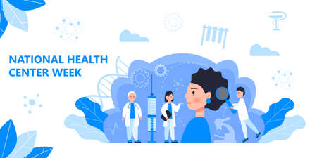 National Health Center Week in August. Healthcare, clinic center concept vector. Tiny doctors treat, diagnose, carry out prevention, webinar. It is for landing page, UI, flyer, medical website. Иллюстрация