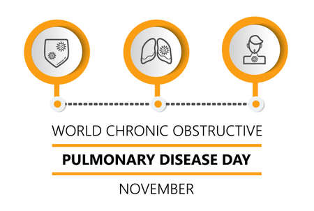 World Chronic Obstructive Pulmonary Disease Day or COPD is celebrated on the third Wednesday of November. Promotion health info-graphic banner, illustration for web. Lungs, doctor, shield icons.