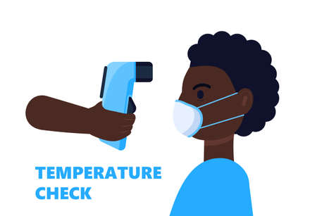 Body temperature check is required. Non-contact thermometer in hand. Black man is wearing mask on the face. Coronavirus prevention and control vector isolated on white background. Vector Illustratie