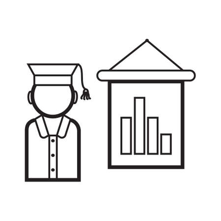 Lecturer icon vector. Business presentation in outline style. Presenter, webinar sign. Remote work, distance education, e-learning illustration for website. Elections, political debates symbol.