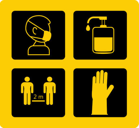 Use hand sanitizer info-graphic vector. Instruction against the spread of corona-virus. Covid-19 prevention tips on yellow board. Mask wearing. Gloves using.