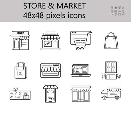 Store, shop icon vector set. Mini-market, shopping symbol in outline style. Online sale, customize and buy sign for website. Grocery, storage, delivery. Retail, shipping icon. Ilustración de vector
